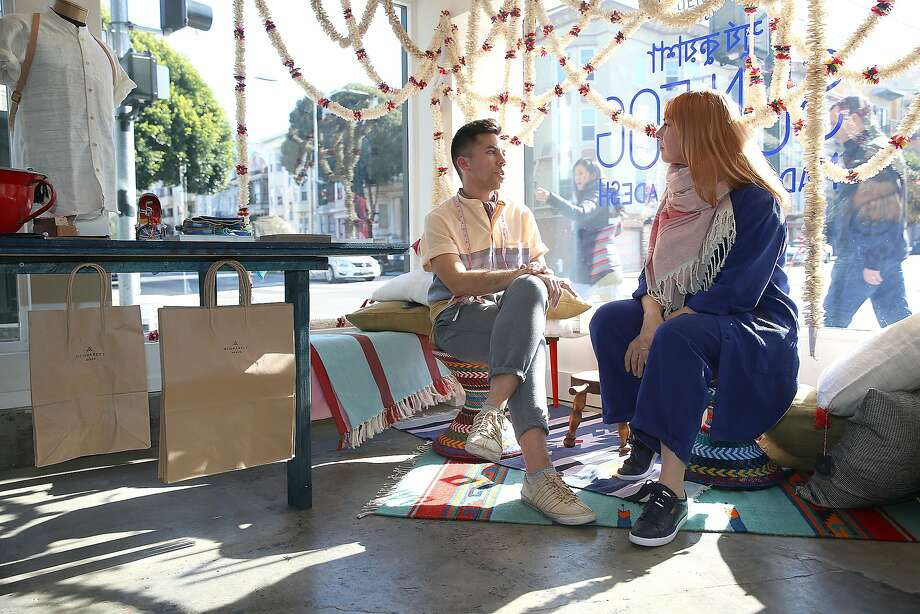 Brand owner Stephen Kennedy (left) and Proef founder Marieke van der Poel (right) at Proefspace, a new Mission District storefront that spotlights varying concept stores. Photo: Liz Hafalia, The Chronicle