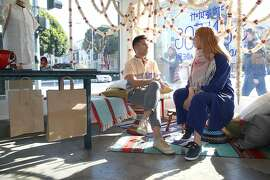 Brand owner Stephen Kennedy (left) and Proef founder Marieke van der Poel (right) at Proefspace, a new fashion space that carries small artisan brands in San Francisco, California, on wednesday, may 11, 2016.
