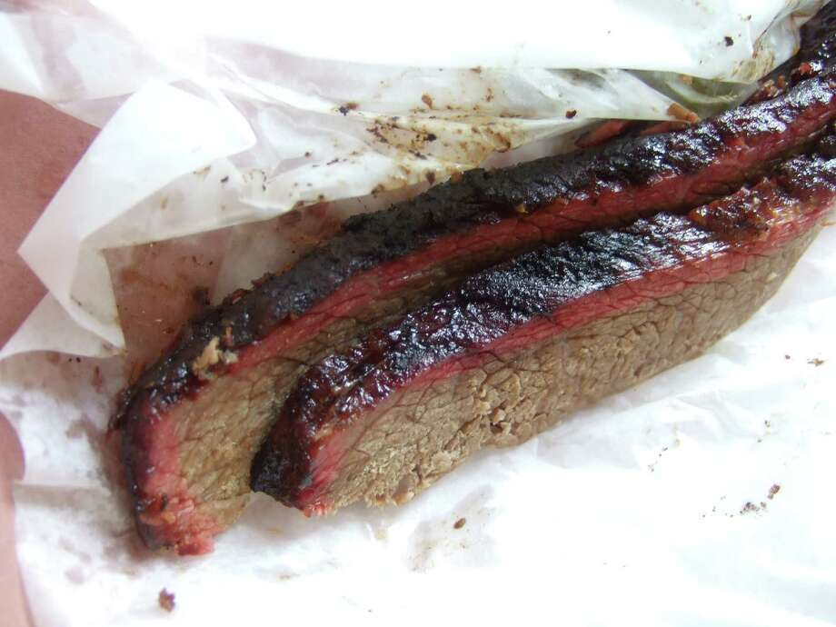 Well-defined smoke ring, but average brisket at City Market in Luling. Photo: J.C. Reid