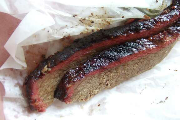 Well-defined smoke ring, but average brisket at City Market in Luling.