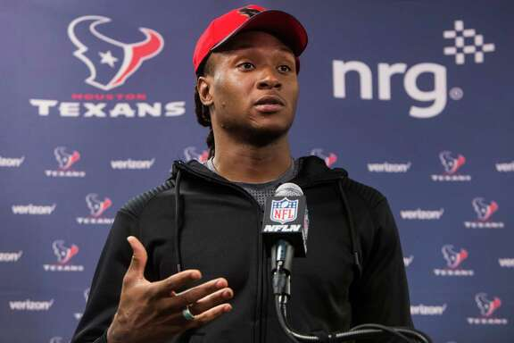 Houston Texans wide receiver DeAndre Hopkins listens to questions during a news conference at NRG Stadium on  Wednesday, April 20, 2016, in Houston. ( Brett Coomer / Houston Chronicle )