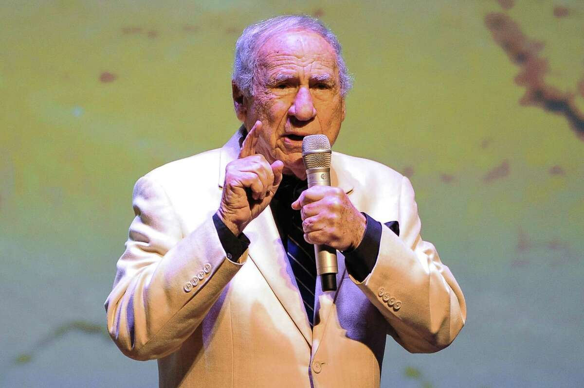"""Mel Brooks speaks onstage following the March screening of """"Blazing Saddles"""" in Costa Mesa, Calif."""