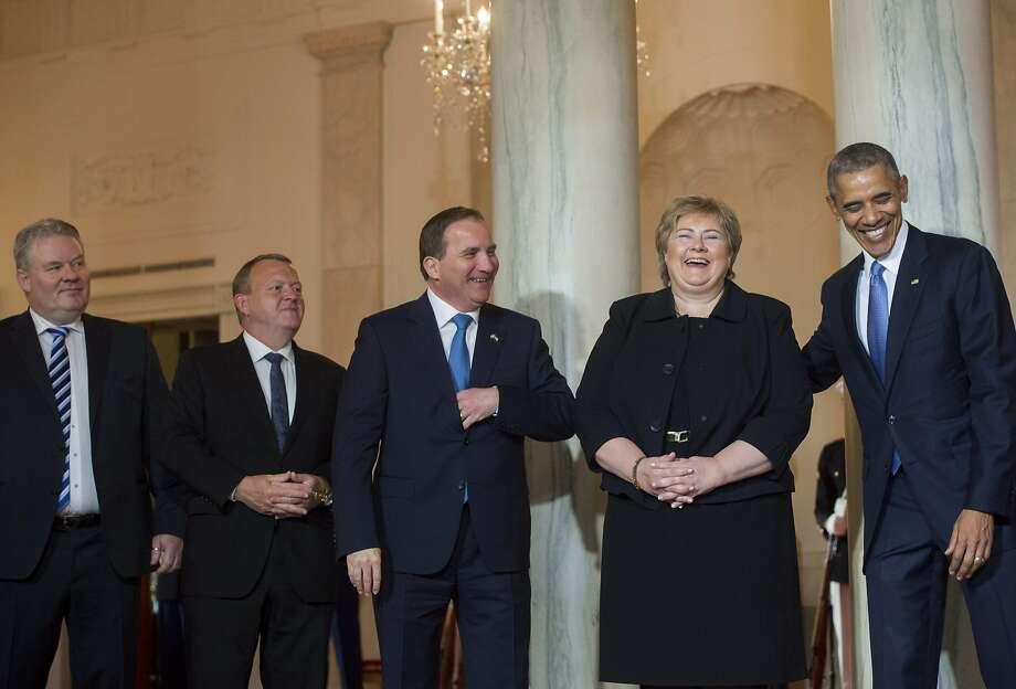 President Obama welcomes four Nordic prime ministers (left to right): Iceland's Sigurdur Ingi Johannsson, Denmark's Lars Lokke Rasmussen, Sweden's Stefan Lofven and Norway's Erna Solberg. Photo: SAUL LOEB, AFP/Getty Images