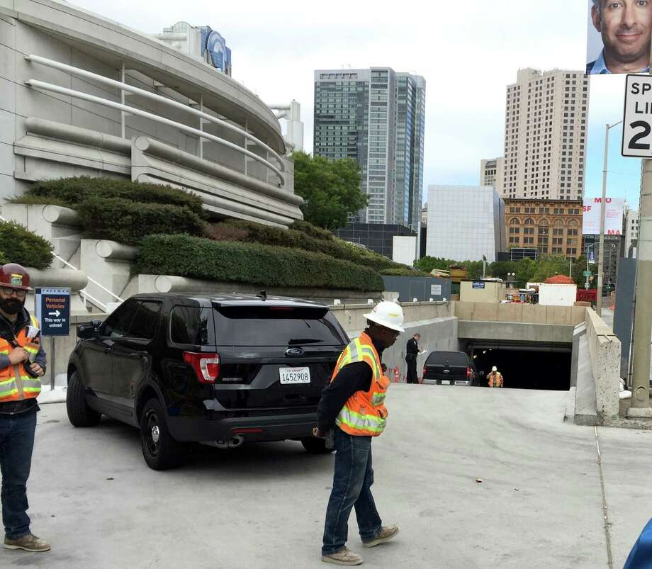 A construction worker was killed in an apparent accident at Moscone Center Friday morning. Police said the man was in the bucket of a cherry picker when he was killed. Photo: Steve Rubenstein / The Chronicle / /
