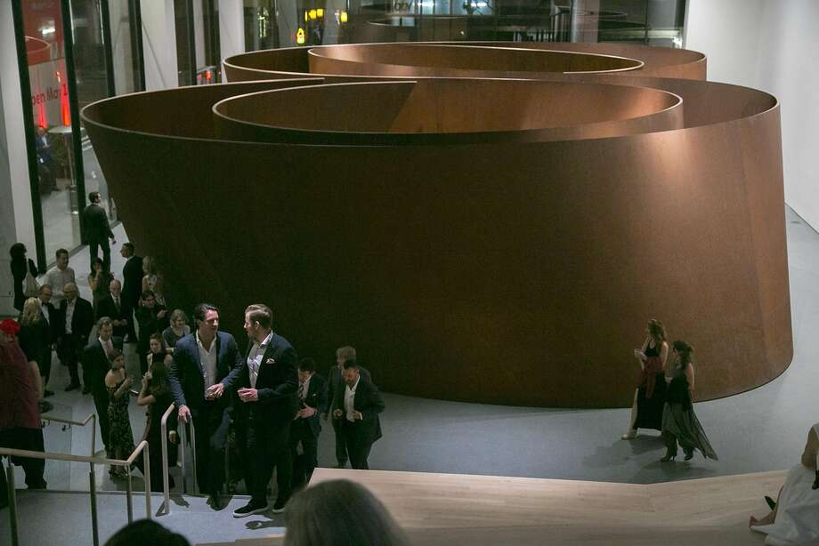 "Richard Serra's 250-ton sculpture ""Sequence"" on display at SFMOMA. Photo: Santiago Mejia, Special To The Chronicle"
