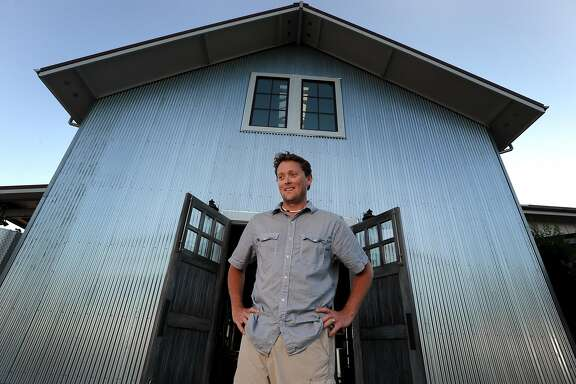 Winemaker Wells Guthrie outside of the fermentation room at Copain Winery in Healdsburg.