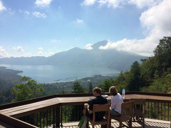 The Lookout restaurant in Kintamani, Bali, offers gorgeous views of Mount Batur and Mount Agung.