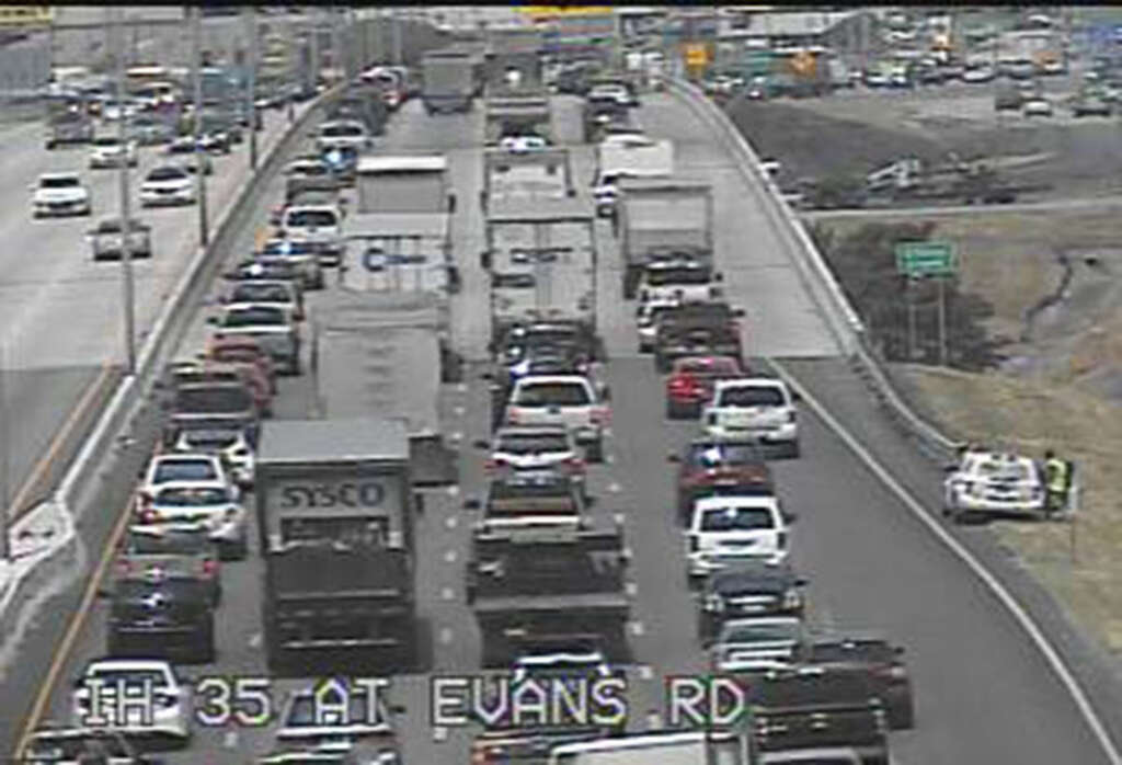 Traffic stacked up on I-35 on the Northeast Side heading into rush ...