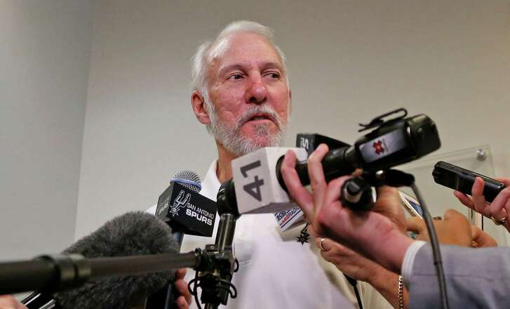 Spurs head coach Gregg Popovich addresses the media on May l3, 2016 at the team practice complex.
