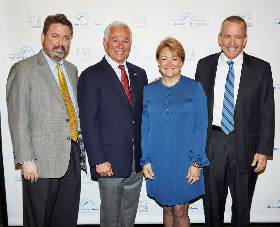 The 15th annual Rays of Home Gala to benefit Pacific House Shelter for the Homeless raised $500,000 during the benefit at the italian Center of Stamford. The event was hosted by former Major League Baseball player and manager Bobby Valentine on behalf of the emergency men's shelter that serves Greenwich, Stamford, Darien and new Canaan. Among the guests were, from left, Peter Rugen, Bobby Valentine, Diane Bosek and Jim Bosek. Photo: Contributed / Contributed Photo / Greenwich Time Contributed