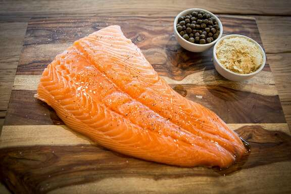 TerraVia's fish pellets, Alga Prime DHA, and a piece of salmon at TerraVia in South San Francisco on Friday, May 13, 2016.