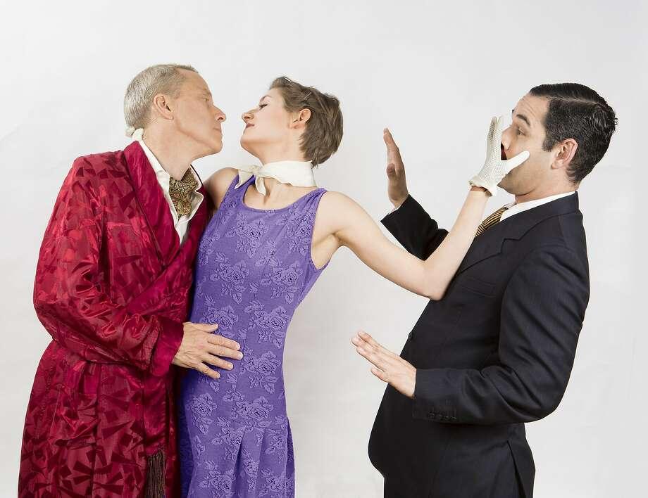 "John Fisher, Adrienne Dolan, Carlos Barrera in ""Present Laughter."" Photo: David Wilson, Courtesy Theatre Rhinoceros"