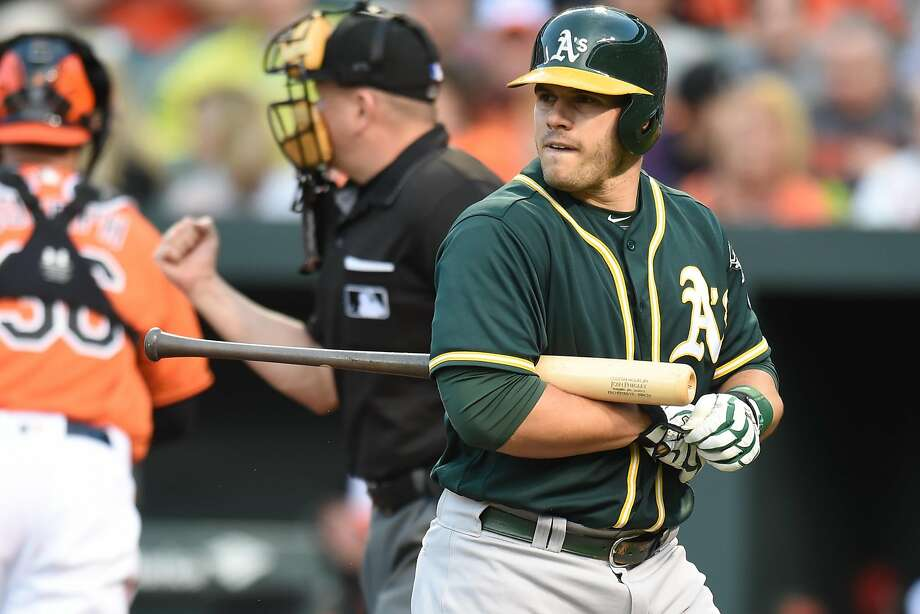 BALTIMORE, MD - MAY 7:  Josh Phegley #19 of the Oakland Athletics Walk back to the dug out after striking out in the second inning during game two of a double header baseball game against the Baltimore Orioles at Oriole Park at Camden Yards on May 7, 2016 in Baltimore, Maryland.  (Photo by Mitchell Layton/Getty Images) Photo: Mitchell Layton, Getty Images