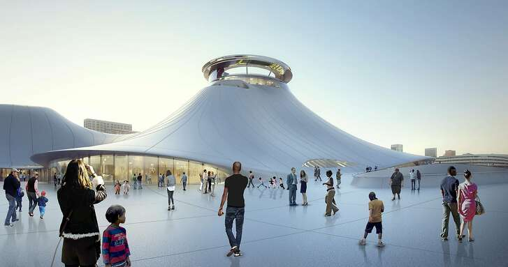 Rendering of the visitor experience on the public plaza of the Lucas Museum of Narrative Art in Chicago. The plaza as well as the surrounding greenspace will be open to park visitors.