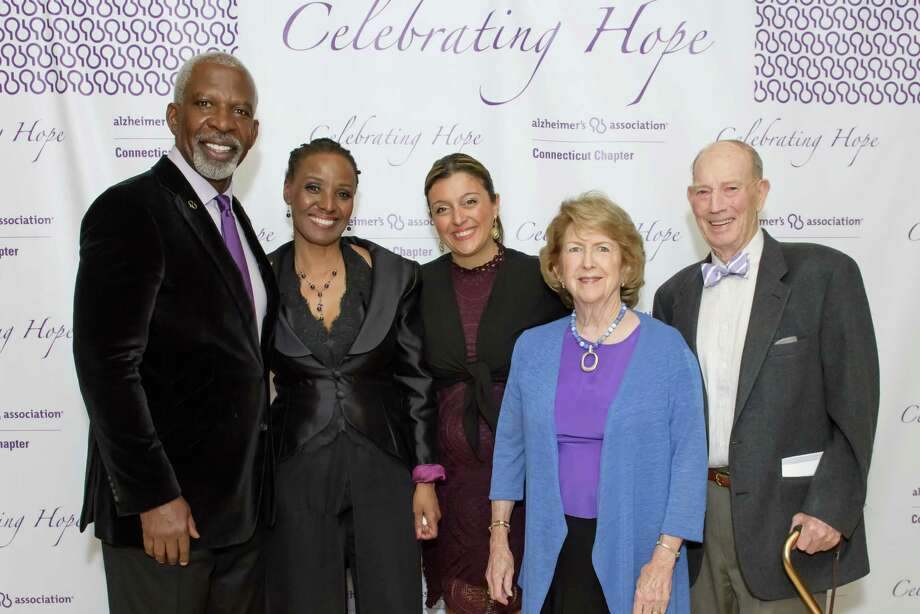 Dan Gasby, B. Smith, Alzheimer's Association Connecticut Chapter CEO and President Eleonora Tornatore-Mikesh, Donna and Jack Moffly at Celebrating Hope 2016 to benefit the Alzheimer's Association Connecticut Chapter on April 29 at l'escale at the Delamar in Greenwich. Photo: Contributed/Nick Caito Photography / Contributed Photo / Greenwich Time Contributed