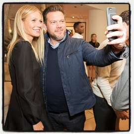 Goop founder Gwyneth Paltrow and chef Tyler Florence take a selfie at the Goop MRKT launch. May 2016. By Drew Altizer.