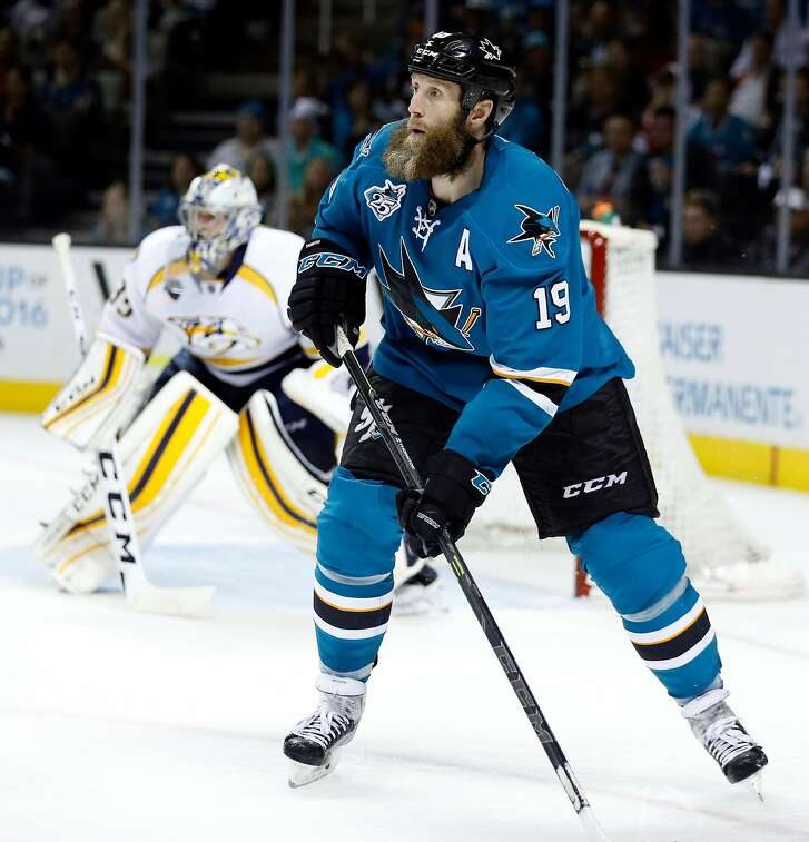 San Jose Sharks' Joe Thornton against Nashville Predators in Game 7 of NHL Stanley Cup Playoffs' Western Conference 2nd Round at SAP Center in San Jose, Calif., on Thursday, May 12, 2016.