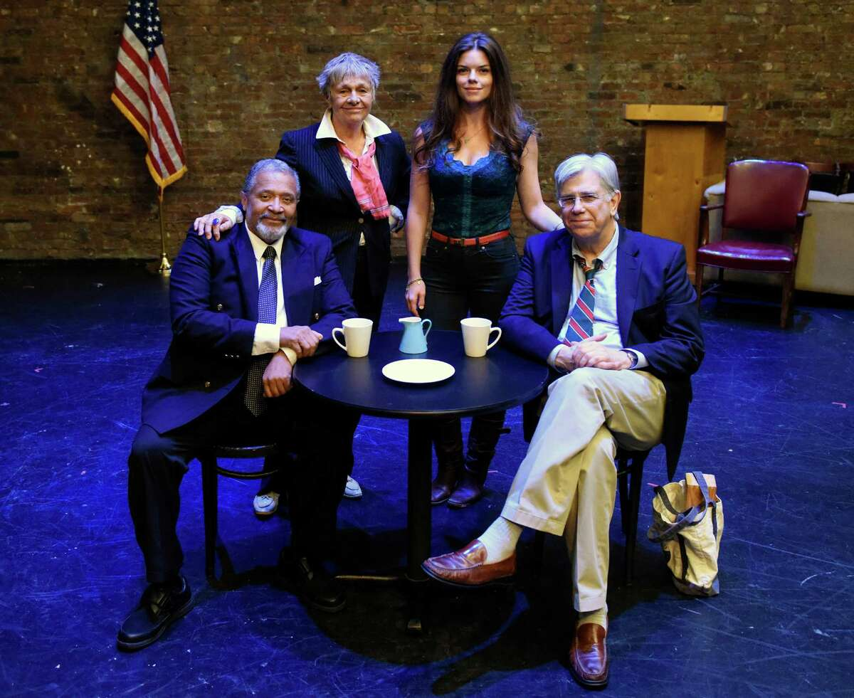 """From left, actor Count Stovall, director Estelle Parsons, writer and Greenwich native Kate Taney Billingsley, and actor Jim DeMarse after the dress rehearsal of Billingsley's play """"A Man of His Time"""" at The Actors Studio in New York"""