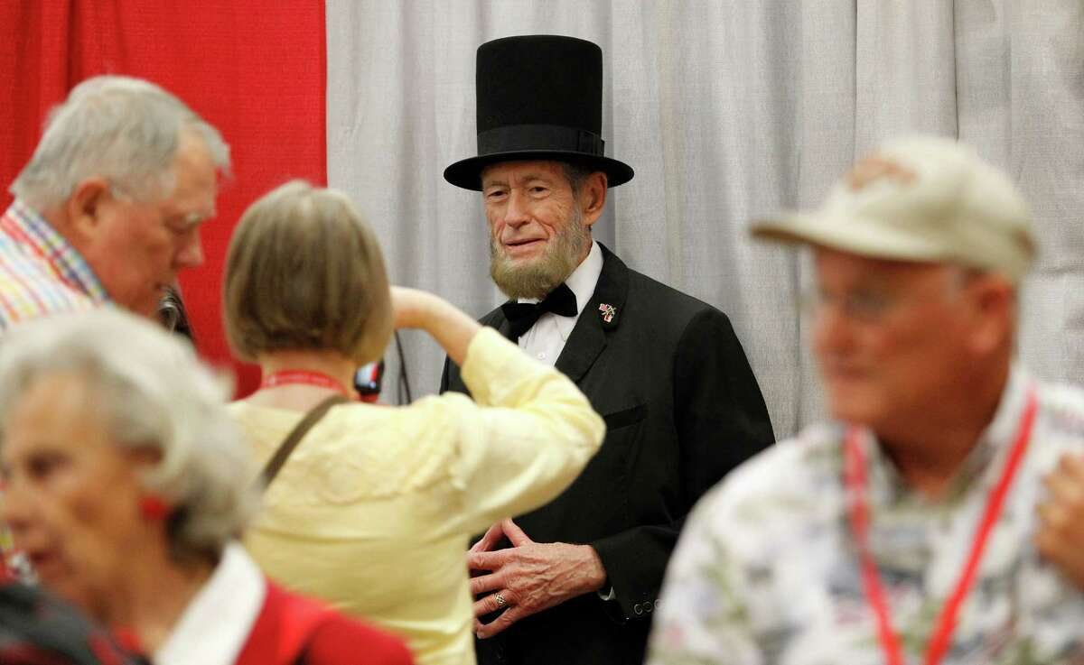 Abe Lincoln, portayed by Courtland Savage, was a promotional guest of the Ted Cruz booth Friday for the second day of the Republican Party of Texas state convention in Dallas. A point of contention for delegates was whether to include secession from the United States in the party's platform.