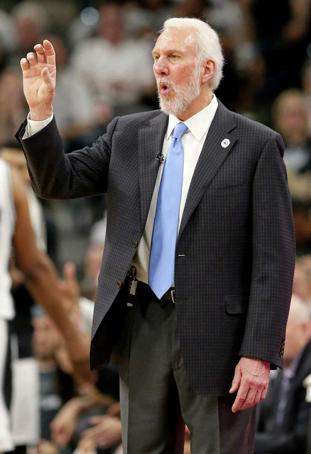 San Antonio Spurs head coach Gregg Popovich calls a play during second half action of Game 5 in the Western Conference semifinals against the Oklahoma City Thunder Tuesday May 10, 2016 at the AT&T Center. The Thunder won 95-91.