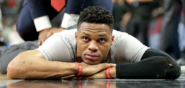 Oklahoma City Thunder's Russell Westbrook lies on the floor while being stretched before Game 5 in the Western Conference semifinals against the San Antonio Spurs Tuesday May 10, 2016 at the AT&T Center. Photo: Edward A. Ornelas, Staff / San Antonio Express-News / © 2016 San Antonio Express-News