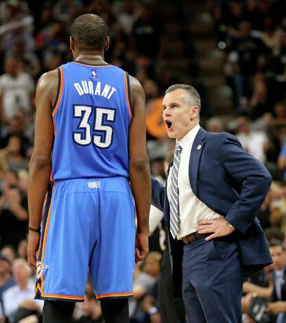Oklahoma City Thunder's Kevin Durant talks with head coach Billy Donovan during second half action of Game 5 in the Western Conference semifinals against the San Antonio Spurs Tuesday May 10, 2016 at the AT&T Center. The Thunder won 95-91. Photo: Edward A. Ornelas, Staff / San Antonio Express-News / © 2016 San Antonio Express-News