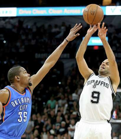 San Antonio Spurs' Tony Parker shoots over Oklahoma City Thunder's Kevin Durant during second half action of Game 5 in the Western Conference semifinals Tuesday May 10, 2016 at the AT&T Center. The Thunder won 95-91. Photo: Edward A. Ornelas, Staff / San Antonio Express-News / © 2016 San Antonio Express-News