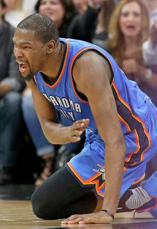 Oklahoma City Thunder's Kevin Durant reacts after a play during second half action of Game 5 in the Western Conference semifinals against the San Antonio Spurs Tuesday May 10, 2016 at the AT&T Center. The Thunder won 95-91. Photo: Edward A. Ornelas, Staff / San Antonio Express-News / © 2016 San Antonio Express-News