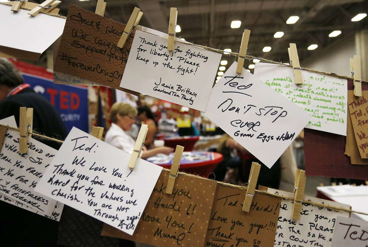 Notes of support pinned on Ted Cruz's booth during the second day of the Republican Party of Texas state convention on May 13, 2016 in Dallas. (Paul Moseley/Fort Worth Star-Telegram/TNS)