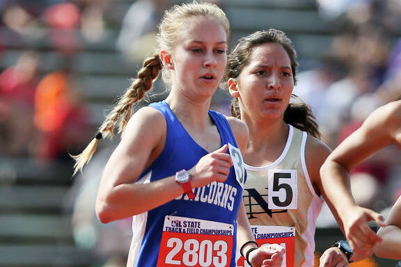 New Braunfels' Paige Hofstad runs in the 6A girls 3200-meter run during the second day of the UIL state track and field championships at Mike Myers Stadium in Austin on Friday, May 13, 2016.  Hofstad won the event with a time of 10 minutes, 23.91 seconds.  MARVIN PFEIFFER/ mpfeiffer@express-news.net