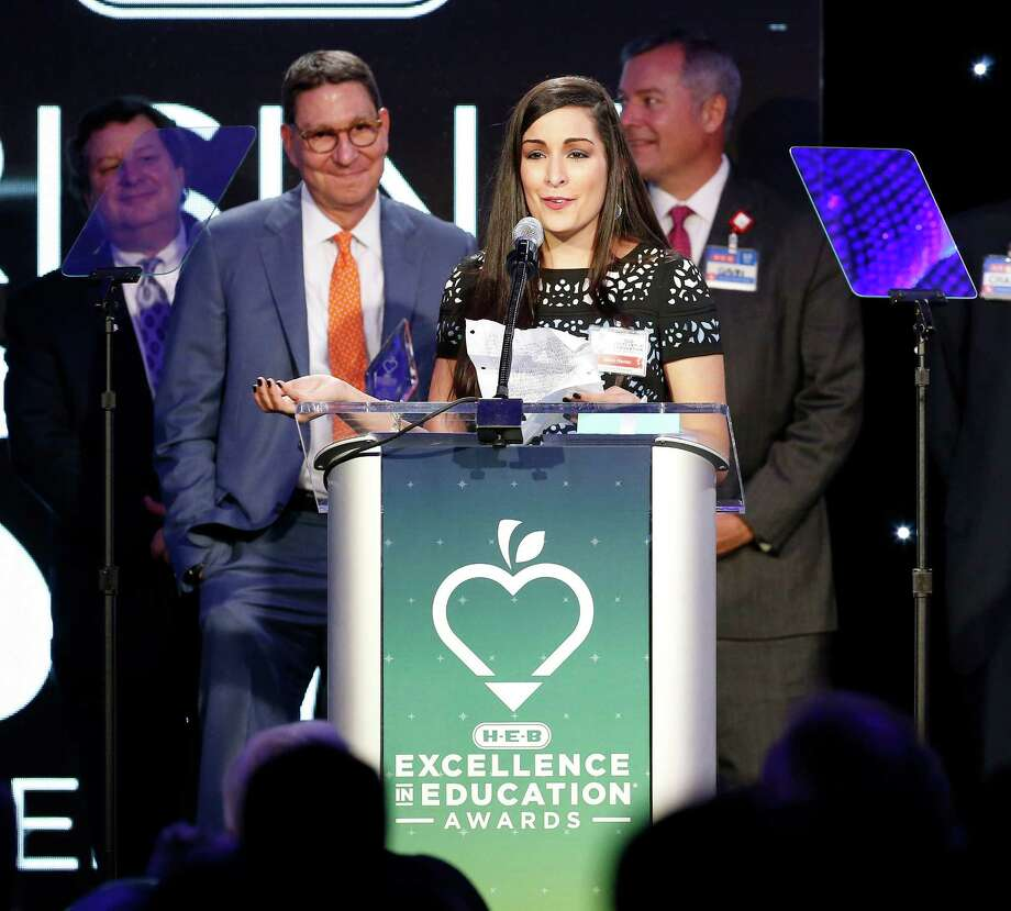 Hilda Nanez of Green Valley Elementary in Galena Park ISD in Houston speaks after receiving the Rising Star Elementary Award at the 15th annual H-E-B Excellence in Education Awards on Friday, May 13, 2016. Educators throughout the state are honored by the local grocer with $430,000 in cash awards and grants. Nanez received $5,000 for herself and $5,000 for her school. Photo: Kin Man Hui, San Antonio Express-News / ©2016 San Antonio Express-News