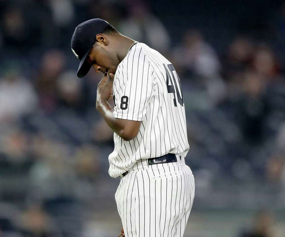 NEW YORK, NY - MAY 13:  Luis Severino #40 of the New York Yankees reacts in the third inning against the Chicago White Sox at Yankee Stadium on May 13, 2016 in the Bronx borough of New York City.  (Photo by Elsa/Getty Images) ORG XMIT: 607677553 Photo: Elsa / 2016 Getty Images