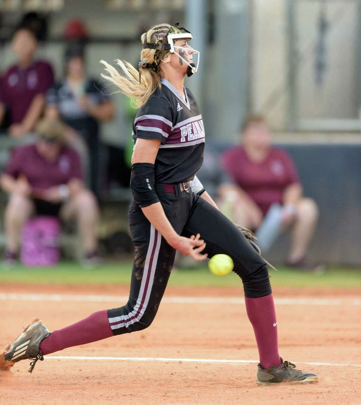 Alyssa Denham (18) of the Pearland Lady Oilers pitching against the Deer Park Lady Deer in the first inning in the Regional Quarterfinals on Friday, May 13, 2016 at the Dawson High School ballpark.