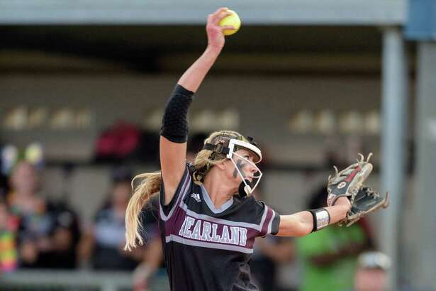 Alyssa Denham (18) of the Pearland Lady Oilers pitching in the first inning against the Deer Park Lady Deer in the Regional Quarterfinals on Friday, May 13, 2016 at the Dawson High School ballpark.
