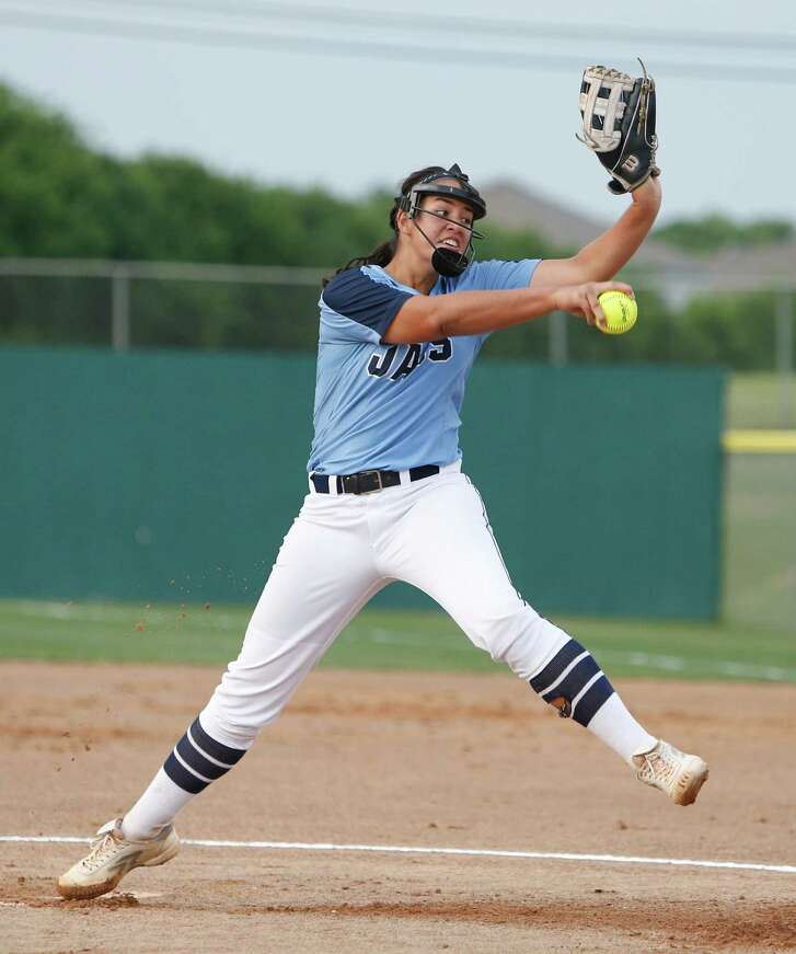 SA Johnson pitcher Caitlyn Colquhoun delivers against  Carroll in Game 2 of the best-of-three high school softball second-round playoff series between Johnson and Corpus Christi Carroll on Friday May l3, 2016 at the NEISD Sport Complex