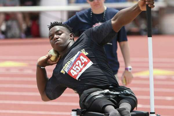 Carrington Marendes of Woodville High School competes in the wheelchair division of the boys shot put event event at the 2016 UIL State Track and Field Meet on Friday, May 13, 2016 at Mike A. Myers Stadium on the campus of the University of Texas in Austin, Texas.