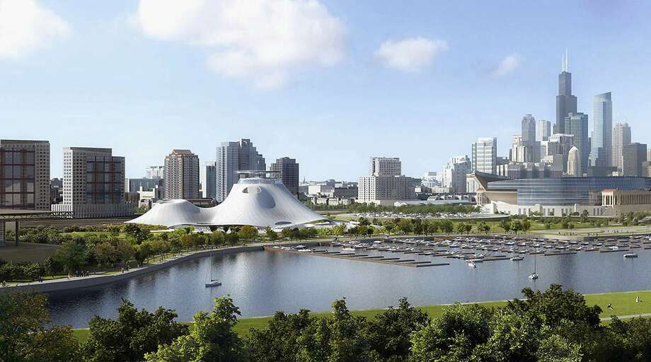 "An image of the Lucas Museum of Narrative Art when it was proposed for Chicago. ""Star Wars"" creator George Lucas now is looking at instead building his museum on San Francisco's Treasure Island — a much different setting, but also one with a waterfront location. Photo: Associated Press"