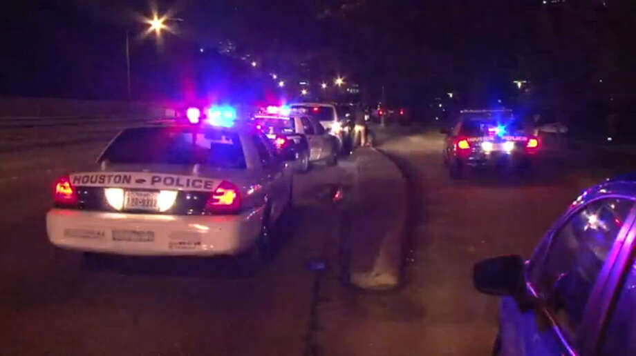 Houston police are searching for a car that may have gone off the road and into a bayou near downtown, officials said late Friday. Photo: Metro Video