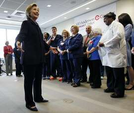 Democratic presidential candidate Hillary Clinton addresses a gathering of medical personnel at Cooper Hospital, Wednesday, May 11, 2016, in Camden, N.J. (AP Photo/Mel Evans)