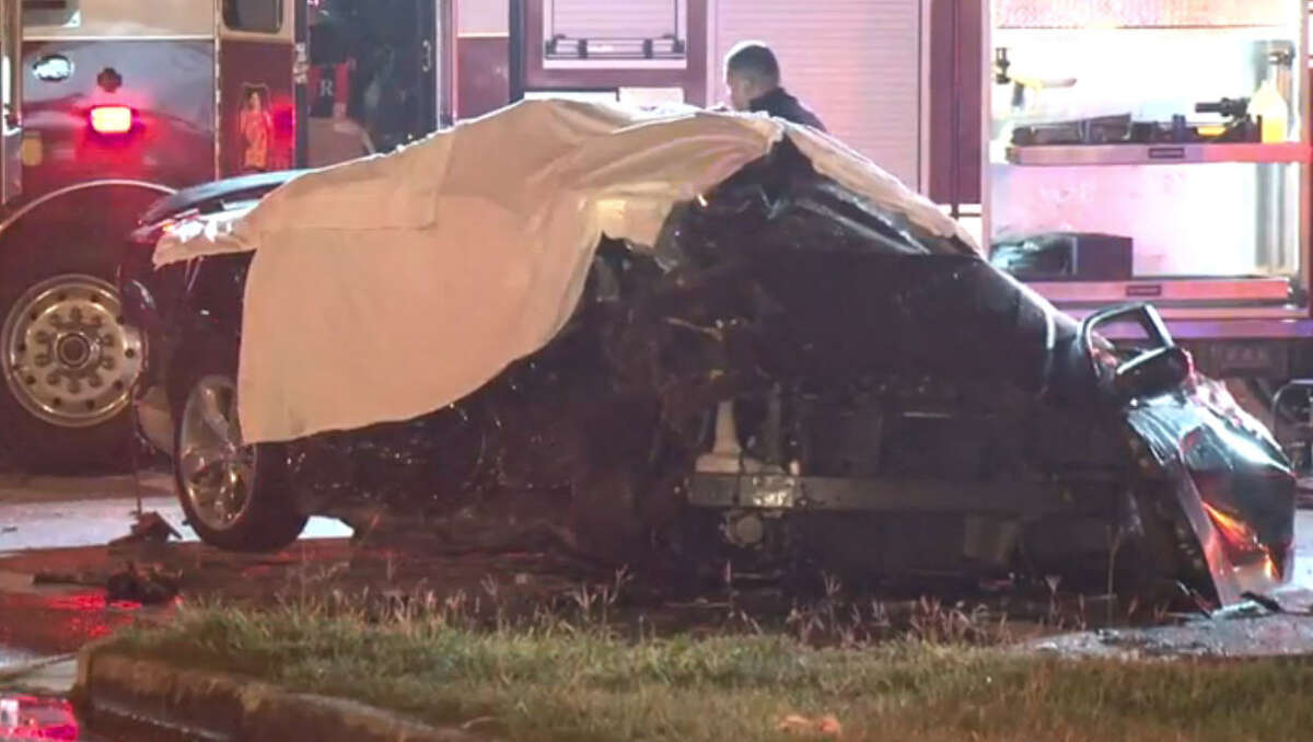 A man fleeing police in north Houston Saturday morning killed a girl and injured her friend after crashing into the car they were traveling in, authorities said