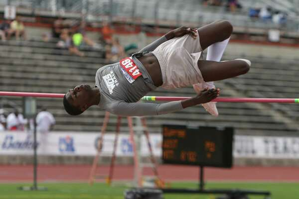 West Orange-Stark's Jared Dupree jumps in the Class 4A boys high jump event at the 2016 UIL State Track and Field Meet on Saturday, May 14, 2016 at Mike A. Myers Stadium on the campus of the University of Texas in Austin. Dupree cleared 6-07 on his third attempt to clinch a second-place finish. (Scott W. Coleman/Special to The Enterprise)