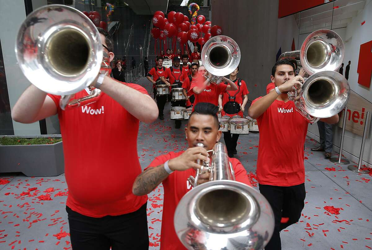 A marching band trumpets the reopening of SFMOMA in San Francisco, Calif. on Saturday, May 14, 2016. The museum opened its doors to the public following a three-year expansion project which nearly triples the gallery space.