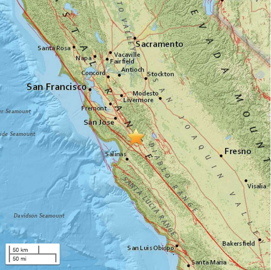 Magnitude 3.0 and 8.0 km (5.0 mi) ENE of Gilroy, California.