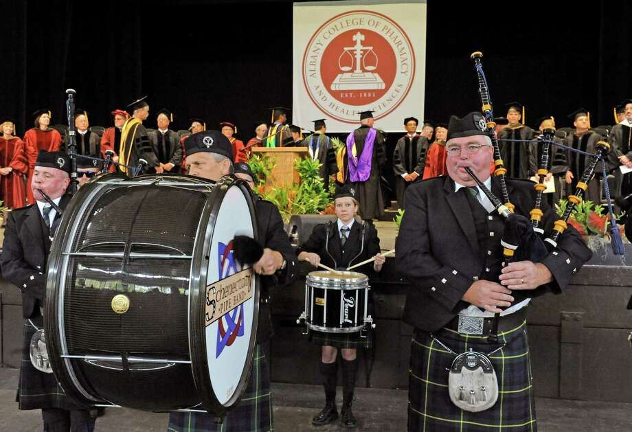 The Schenectady Pipe Band performs as the Albany College of Pharmacy held their 136th commencement ceremony at SPAC on Saturday May 14, 2016 in Saratoga Springs, N.Y. (Michael P. Farrell/Times Union) Photo: Michael P. Farrell / 10036360A