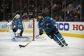 San Jose Sharks' Brent Burns (88) during Game 2 in an NHL hockey Stanley Cup Western Conference semifinal series against the Nashville Predators Sunday, May 1, 2016, in San Jose, Calif. (AP Photo/Tony Avelar)