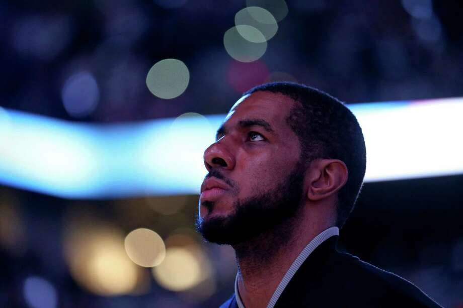 San Antonio Spurs' LaMarcus Aldridge stands during the national anthem before Game 5 in the Western Conference semifinals against the Oklahoma City Thunder Tuesday May 10, 2016 at the AT&T Center. Photo: Edward A. Ornelas, Staff / San Antonio Express-News / © 2016 San Antonio Express-News