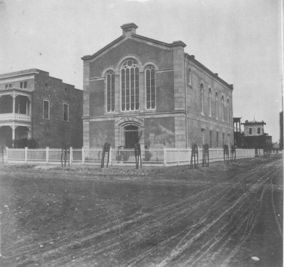 For about a decade, two successive private schools with no religious ties were located in the basement of the original Temple Beth-El, shown circa 1877, on the corner of Travis and Jefferson streets. Photo: UTSA Special Collections / UTSA Special Collections