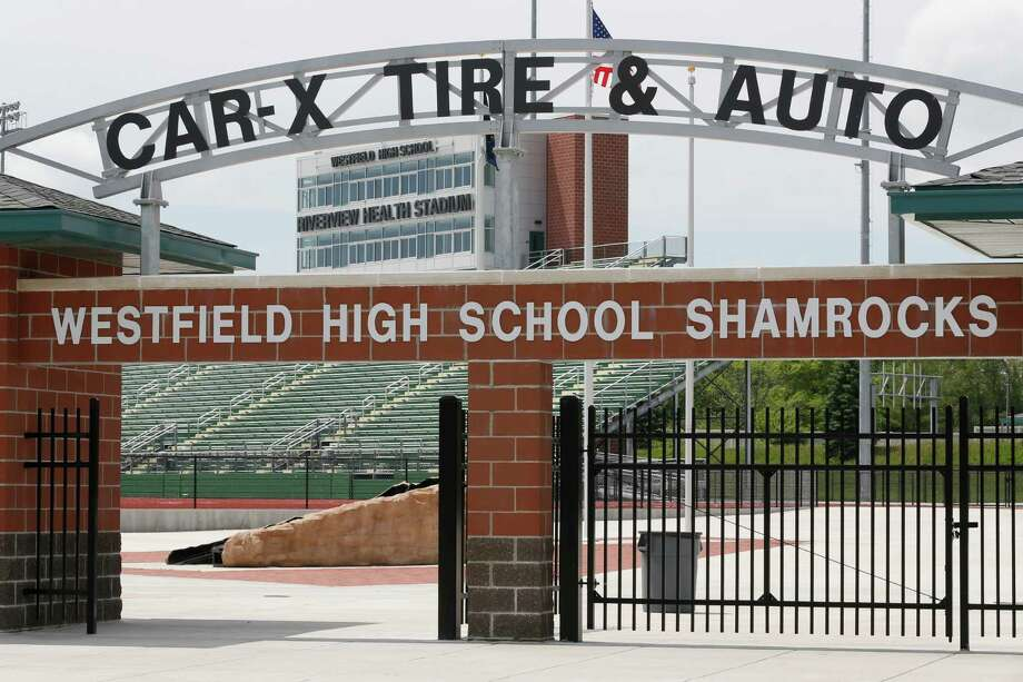 The north gate at the football stadium at Westfield High School is shown Wednesday, May 11, 2016 in Westfield, Ind. The school, 25 miles north of Indianapolis, agreed in 2014 to a 10-year, $1.2 million naming rights deal with a health care provider, with the money used to help build a 5,000-seat high school football stadium that opened last year.(AP Photo/Michael Conroy) ORG XMIT: INMC203 Photo: Michael Conroy / Copyright 2016 The Associated Press. All rights reserved. This m