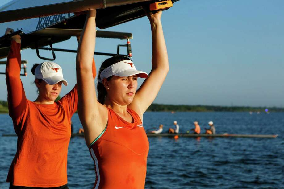 Austin, TX - April 30: The University of Texas No. 8 Women's Rowing IIV4+ team preparing for their race at their last home event of the year at Walter E. Long Lake against No. 4 Virginia for a session of four races. Photo: Spencer Selvidge, For The San Antonio Express-News / Spencer Selvidge For The San Antonio Express-News