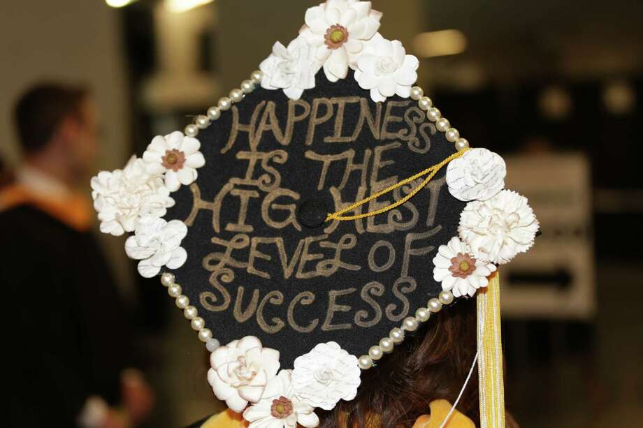 The decorated hat of a graduating student from The College of Saint Rose during their commencement exercises on Saturday, May 14, 2016, at the Times Union Center in Albany, N.Y.  (Brian Alpart/Special to the Times Union) Photo: Brian Alpart